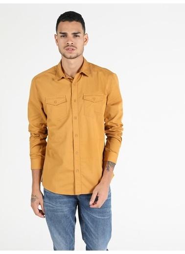 Colin's Slim Fit Standart Kol V Yaka Safran Erkek Gömlek Uzun Kol Renkli